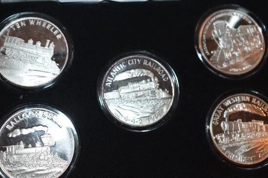 Railway Proof 1 Oz Silver Coins .999 Fine Silver in Velour Presentation Case: Balloon Stack...