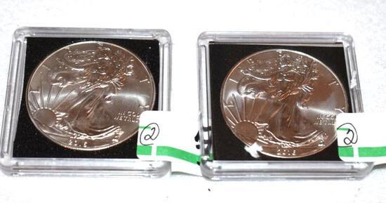 American Eagle Silver Dollars-2016, Uncirculated 1 oz each .999 Fine Silver