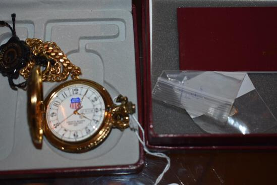 Pocket Watch with Chain, Union Pacific with papers and original box