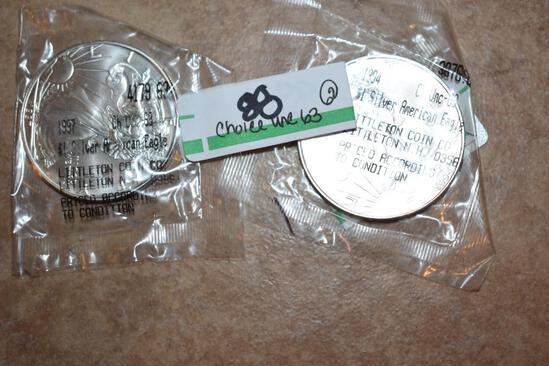 American Eagle Silver Dollars Choice Unc.MS-63 1 oz each .999 Fine Silver; Littleton coin