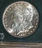 US Morgan Silver Dollar 1881-S, Brilliant Shine, some toning, Reverse: Gold/Blue Toning Apx MS63+