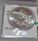 US Morgan Silver Dollar; Key Date, 1881-O with bright mirror shine, appears almost Proof Like