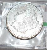 US Morgan Silver Dollar, 1884 Nice Bright Coin, Graded by Eastern Numismatics as MS 60,