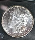1880-S US Morgan Silver Dollar, Bright Mirror Shine, Full Liberty, Gr.Hairline Details Comp MS 63+