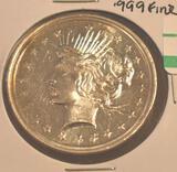 1 Oz Silver Trade Unit .999 Fine Silver, Face looks like Peace Dollar