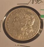 1890-O US Morgan silver dollar, see photos, showing some wear