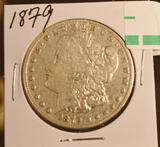 1879 US Morgan Silver Dollar in Circulated Condition, wear at hairline