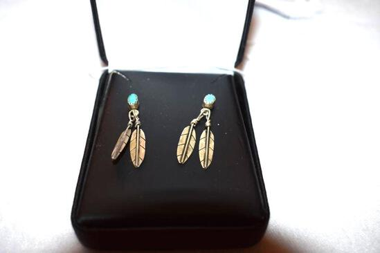 Pair of Sterling Feather Drop Earrings with Turquoise, Pierced earrings