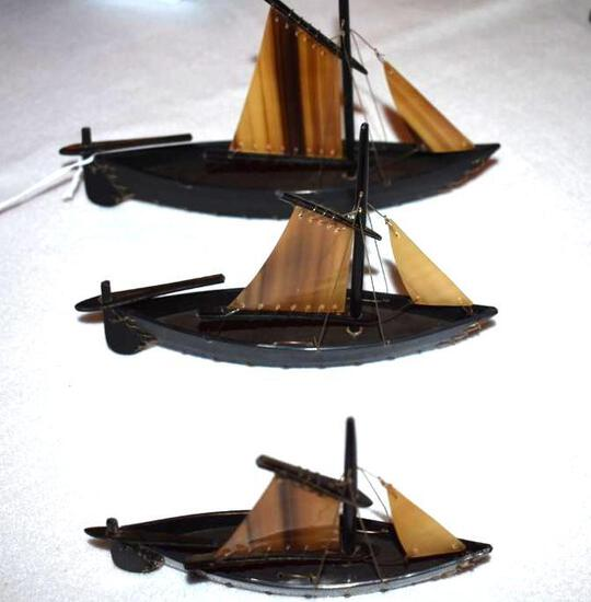 Lot of 3 Sailing Ships made of Horn or Whale Bone?