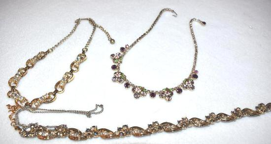 Grouping of 3 Costume jewelry Necklaceswith colored stones