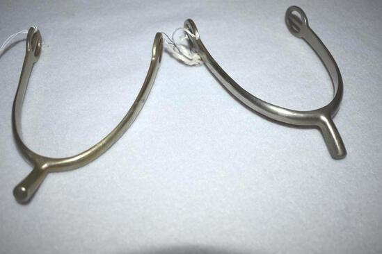 Pair of Antique Spurs, Marked Solid Nickel, Made in England