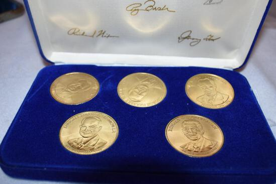Set of 5 President Tokens in Display Case: Eisenhower, Nixon, Reagon, Ford, Bush