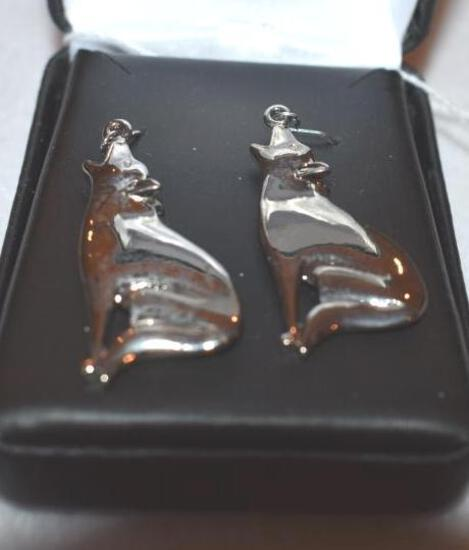 Pair of Sterling Silver Earrings, Coyotes, Wire loop