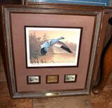 Federal Duck Stamp Print: Migratory Bird Hunting;Snow Goose 1988-89 Gold Medallion Stamp, Artist Sgn
