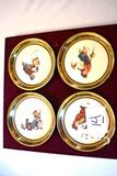 Set of 4 Vintage Gorham Coasters: Norman Rockwell designs