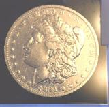 1891-O US Morgan Silver Dollar, Brite Mirror Shine, Clear Face , showing some wear