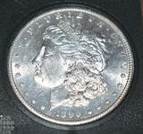 US Morgan Silver Dollar, 1890-S, full Details on Eagle Wings and Breast
