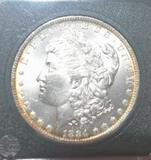 US Morgan Silver Dollar, 1884-O, with Mirror Shine, compare to MS 65