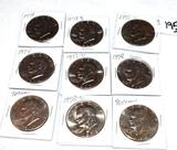 Grouping of 9 Mixed Date Eisenhower Dollars Various Conditions