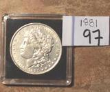 1881 US Morgan Silver Dollar, Nice Clear Face, full Liberty