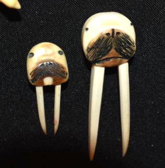 Eskimo Carved Marine Ivory Figures to include Walrus with long Tusks and seal
