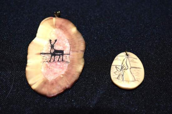 Eskimo Carved Marine Ivory pendant of Whale and Antler w/Caribou, sgn