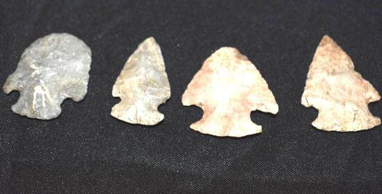 4 Ancient Carved Arrowheads/Points Apx 2 in each Very Nice