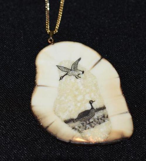Eskimo carved Ivory tusk slab Pendant with Canadian Geese