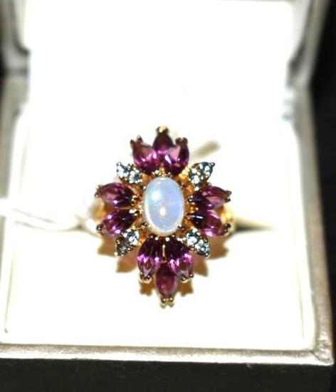 Fancy Cocktail Ring, Purple stones and accents