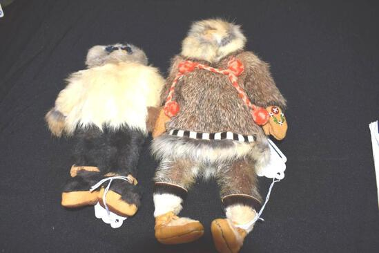 Native Eskimo handmade Dolls, Fur and Leather trims, Man & Lady dolls, Man with beaded gloves