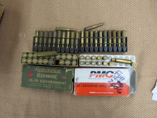 Brass and ammo lot. 22rds 30-30. 12pc 308 brass. 20pc 45-70 brass.