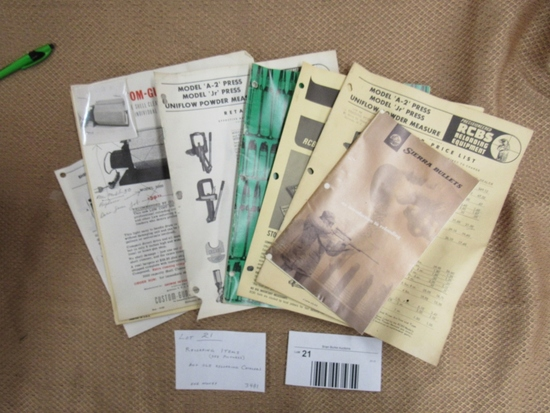 Mixed reloading items and reloading catalogs. Press and powder measure