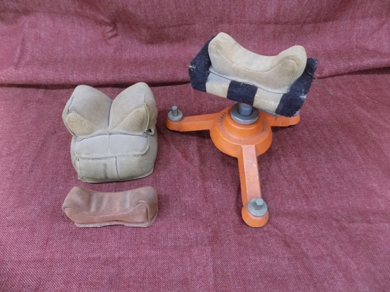 lot of 3 leather rifle rest. metal stand by hoppes