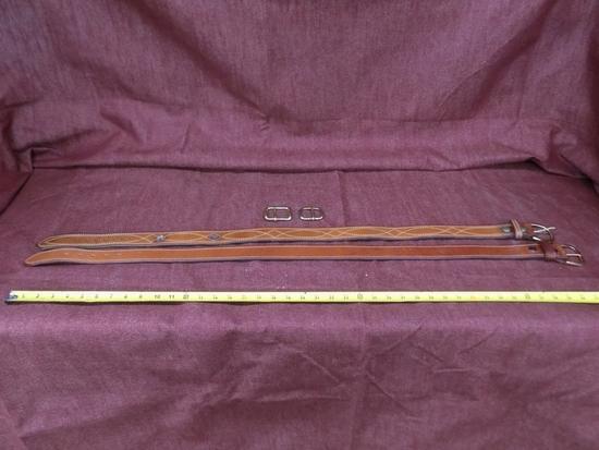 x2 leather belts. sz 38 ross leather, sz 36 de saints