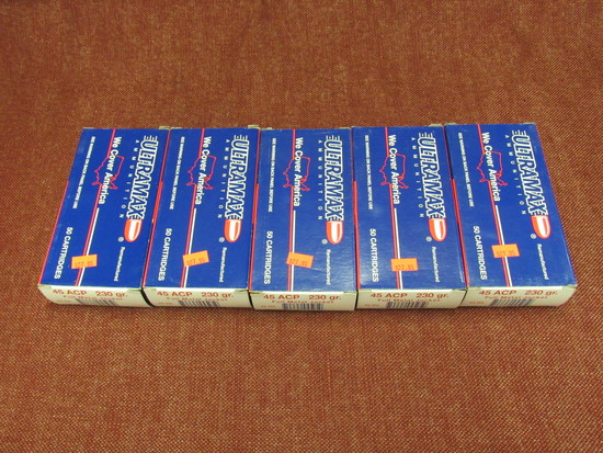 5 boxes of 45 acp 230 gr ammo