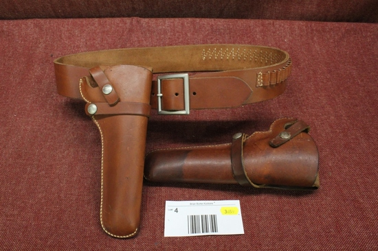 Leather ammo belt and two holsters hunter 1100k