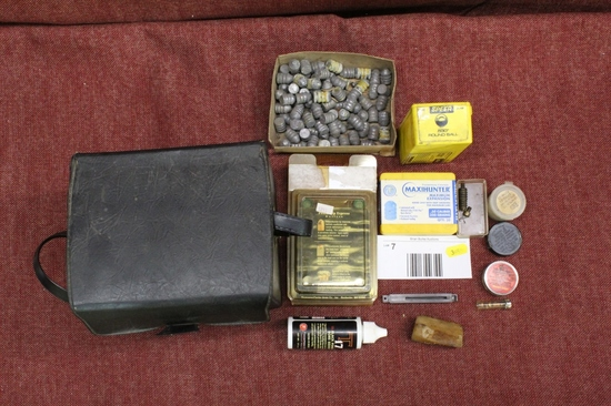 mixed lot of lead bullets, cleaning items, carry bag and more