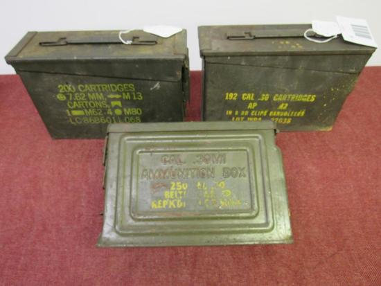 3 metal ammo cans, 1- holds 200 cartridges of 7.62mm