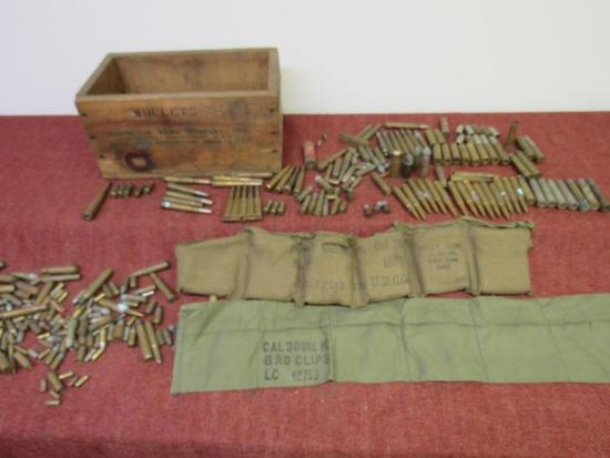 Mixed Vintage Ammo, Brass & Bullets in Remington Arms