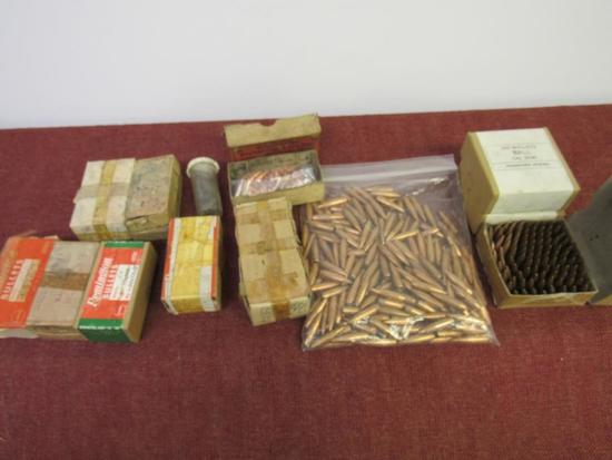 Mixed bullet lot, 750+ pcs of 30 cal rifle bullets, 50+pcs of