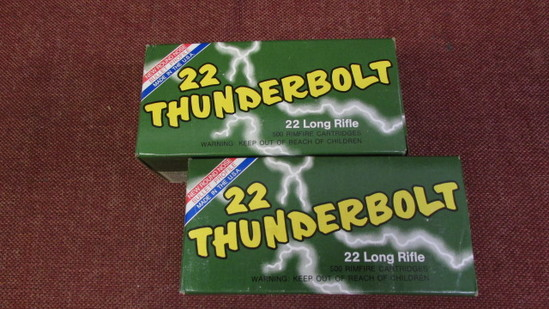 2 Remington 22 Thunderbolt 22Long Rifle Hi-Speed, 500rds