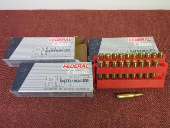 3 boxes of 222 rem. Federal ammo, 20 rds/box, by the box