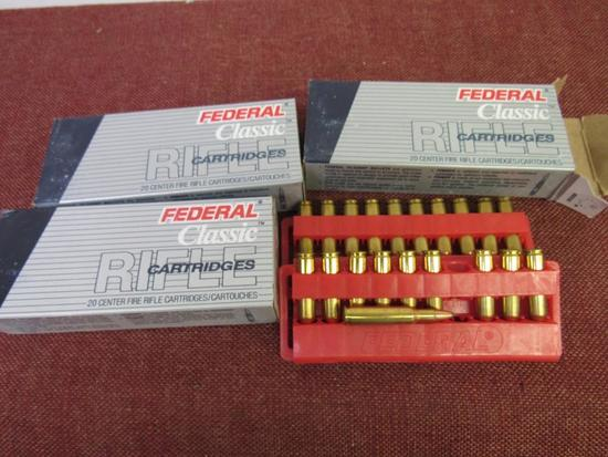 3 boxes of 222 rem. Federal ammo, 20rds/box, by the box