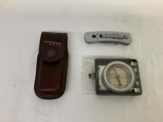 Silva Compass, Leatherman Sheath, Folding Pocket Knife