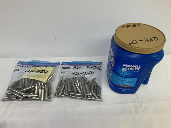 22-250 Brass Lot, 2- 50 count bags of 22-250 Nickel Cases