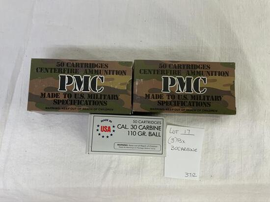 3 boxes of 30 carbine ammo, by the box