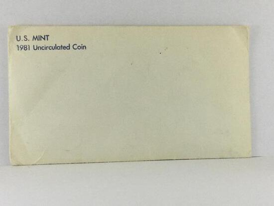 1981 UNC United States Mint Coins, 2- 50c, 2- 25c, 2-10c,