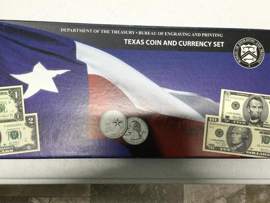 Texas Coin & Currency Set includes 2- 25c, $1, $2, $5 & $10