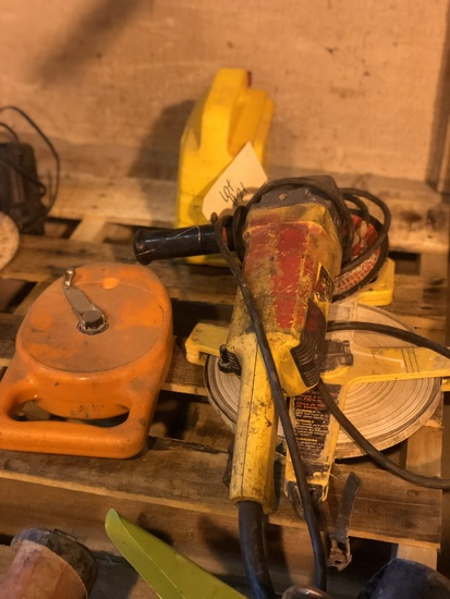 10 inch grinder, 200 ft tape measure & chalk box