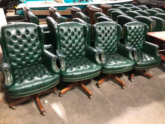 (4) Green Executive Rolling Office Chairs